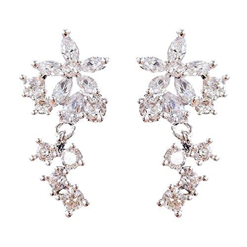 14k Cz Crystal Flower Earrings