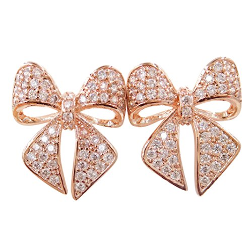 or Rhodium Plated Rose Stud Earrings with Crystals Rose Gold 14K Gold