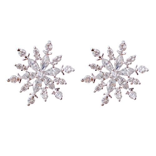 14k Cz Crystal Snowflake Stud Earrings