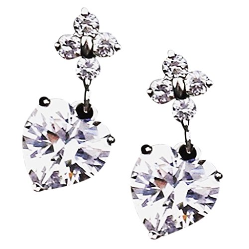 14k Radiant Cubic Zirconia Cz Flower With Heart Drop Earrings Rose Gold White