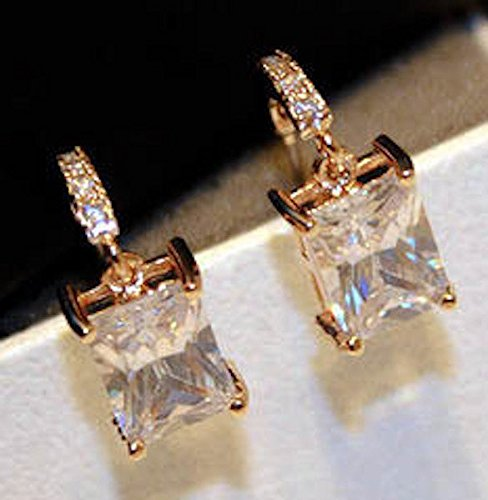f8c7d7615d698 18K Modern Elegance Cubic Zirconia CZ Crystal Pave with Princess Cut  Crystal Dangle Earrings - Rose Gold / White Gold Plated