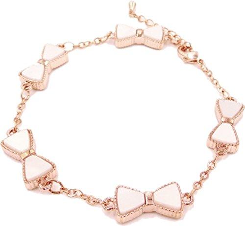 18k Modern Minimalist White Bow Bracelet Rose Gold