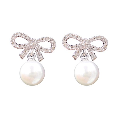 Excelsia Cz Pave Bow 14k Rose White Gold Plated Earrings With Simulated Pearl