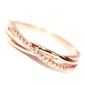 180bedace Excelsia 14K Dainty and Delicate Triple Cord Single Pave Cubic Zirconia CZ  Crystal Pave Band Intertwined Ring for Women – Rose Gold/White Gold Plated  (Size ...